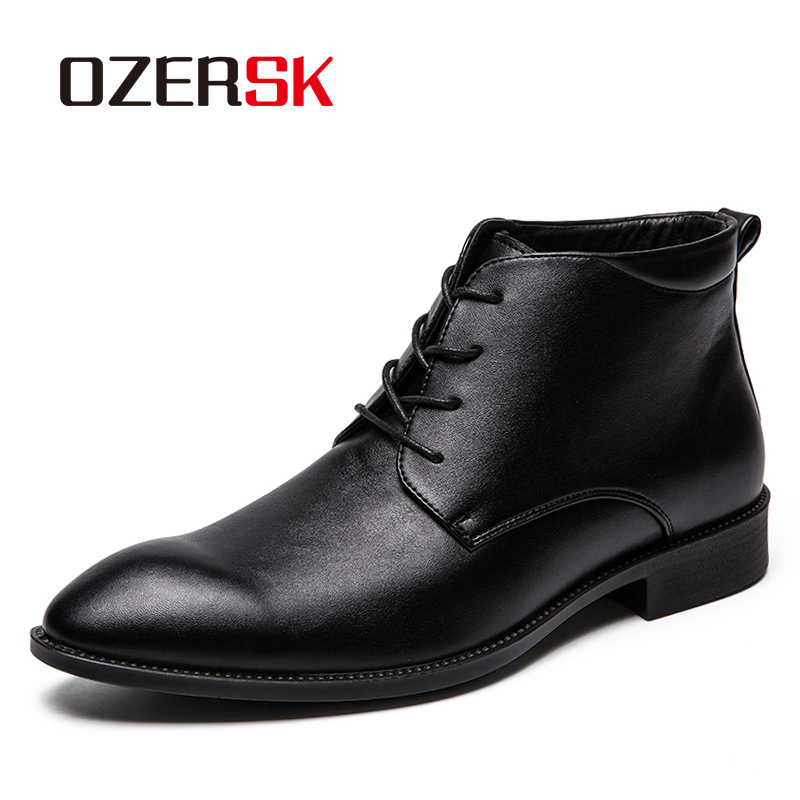 OZERSK Classic Split Leather Men Winter Autumn Boots Fashion Men Ankle Boots High Quality Vintage Style Spring Men Boots Shoes