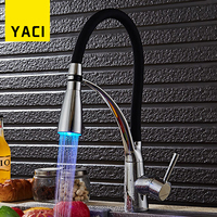 YACI Kitchen Faucet LED With Rubber Design Deck Mounted Pull Down Polished Chrome Mixer Tap Bathroom