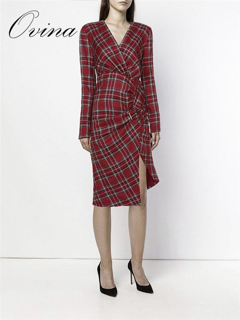 Mode d'hiver Plaid à manches longues plissée longueur du genou fendu épais marque femmes robe de luxe robe de soirée