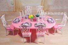 Free Shipping,New arrival Christmas/Birthday Gift Children Play Set Cute dinning room Doll Accessories Furniture For Barbie Doll