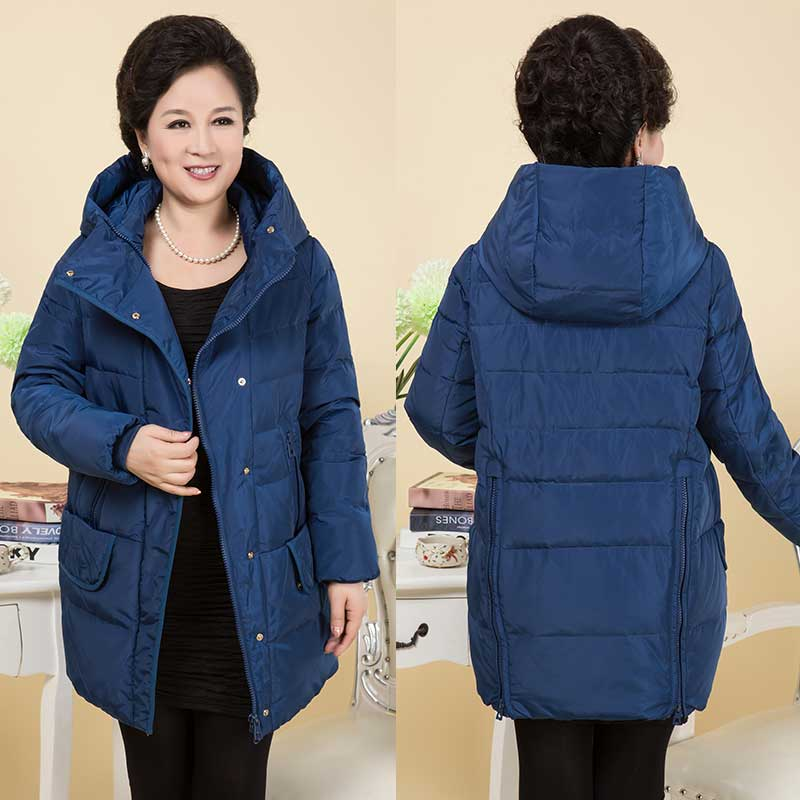2017 Elderly women down jacket in the long section of loose collar hooded thick casual casual plus fat code shell of the elderly national policy of older people india