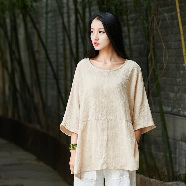 ORIGOODS Solid color Plus size Women Blouse Shirt Cotton Vintage Summer Loose Casual Shirts Women Tops and Blouses Femme B202 3