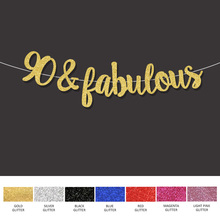 Gold Black Silver Glitter 90fabulous Banner 90th Happpy Birthday Sign Decor 90 Anniversary Party