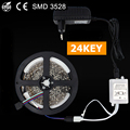 5M 60LEDS/M 12V Non Waterproof Led Strip fita neon tapes diode RGB Set With 24 Key IR Remote Controller And EU 2A Power Adapter