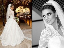 Romantic Lace Long Sleeve Wedding Dresses 2015 New Fashion V Neck Ball Gown Muslim Bridal Gowns Custom Made HL382