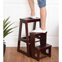 Portable Folding Multi functional 3 tier Ladder Wood Step Stool Modern Sturdy Durable Stool for Home Office Bathroom HW55009