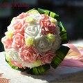 New Design Romantic Wedding Bridesmaid Rose Artificial Flowers Bridal Bouquet Handmade bouquet de mariage in Stock Free Shipping