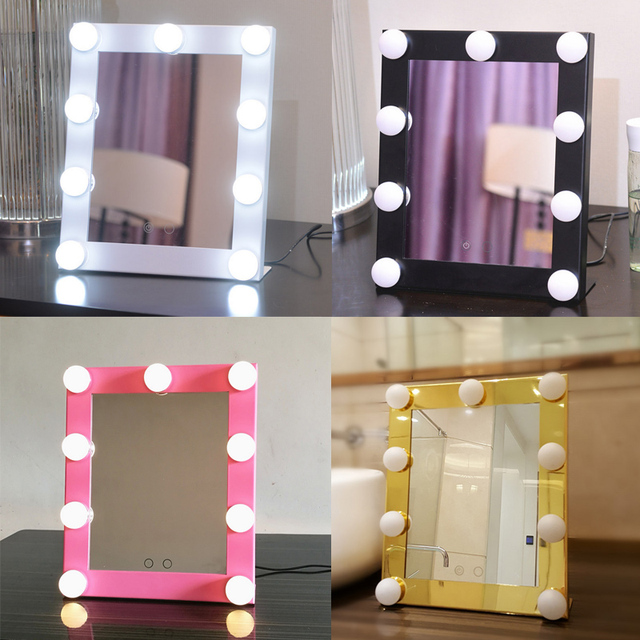 Led Bulb Vanity Lighted Hollywood Makeup Mirror With Dimmer Stage Beauty Lights