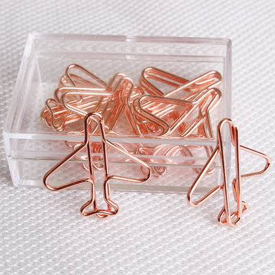 20 Clips Air Plane Cute Rose Gold Paper Clips Decorative Binder Clips Metal Paper Clip