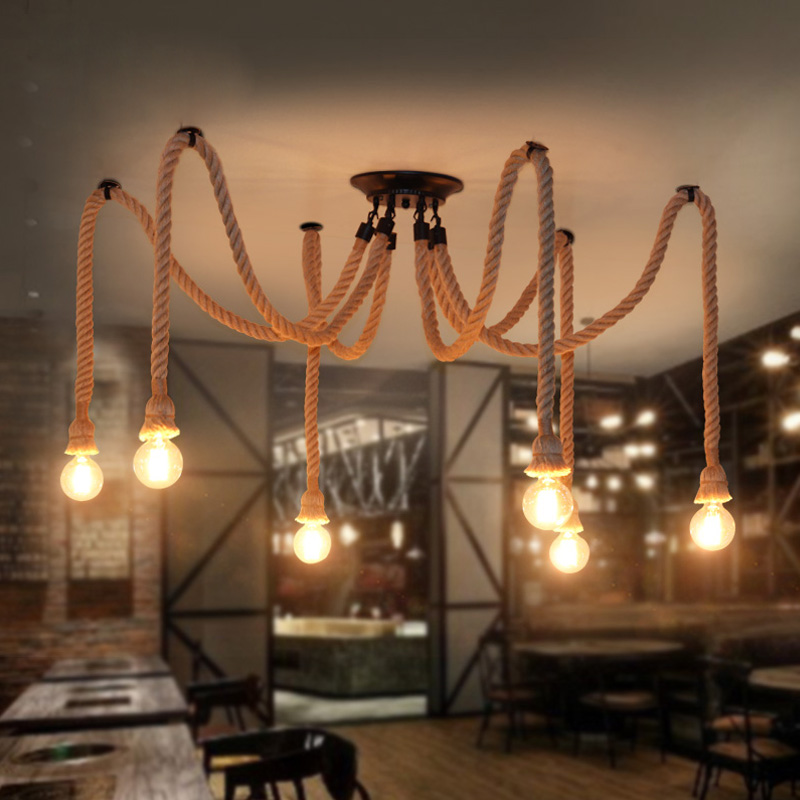 American LOFT Country Retro Industrial spider Hemp Rope pendant light  Living Room Restaurant bar hanging light Fixture  lamp american industrial hemp rope iron crystal pendant lights creative personality living room coffee shop 75cm retro pendant lamps