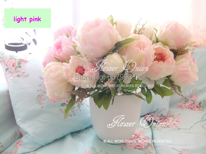 Hot Sale Artificial Fake Peony Silk Flowers Bridal Bouquet Flower