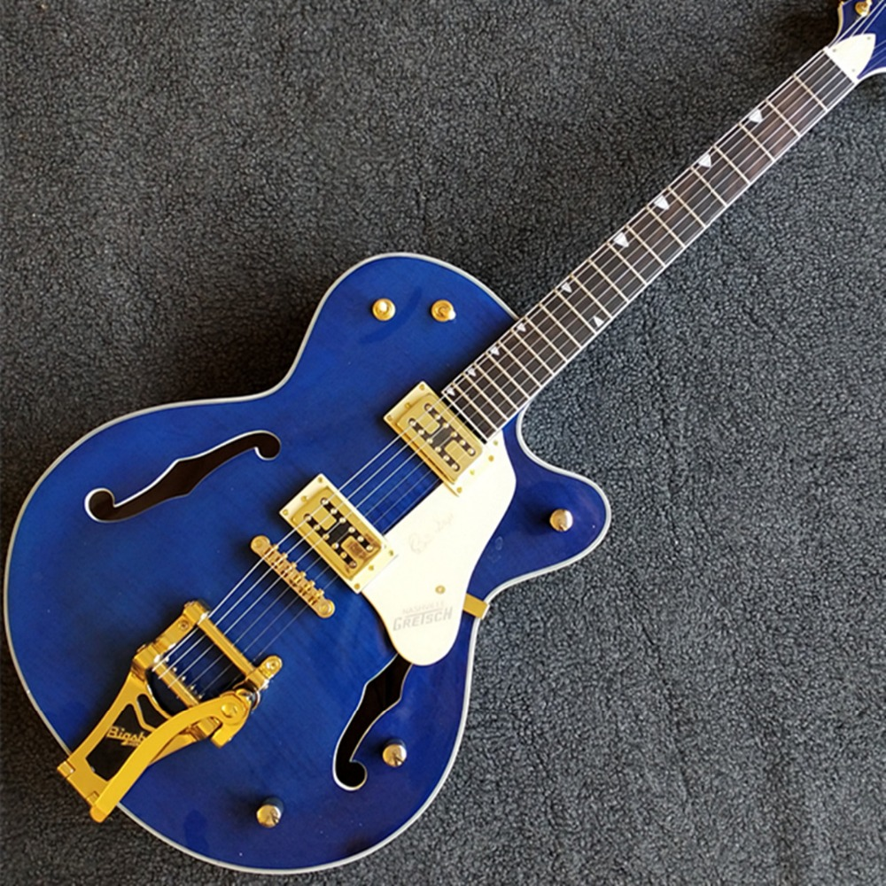 6 strings electric guitars gret jazz guitar blue flamed top vibrato tailpiece hollow body double. Black Bedroom Furniture Sets. Home Design Ideas