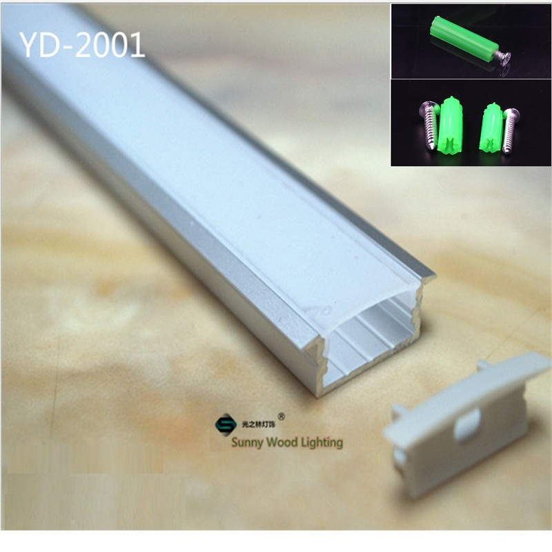 10PCS Of 1m  Led Channel Embedded Aluminum Profile For Double Row Led Strip,milky/transparent Cover For 20mm Pcb With Fittings