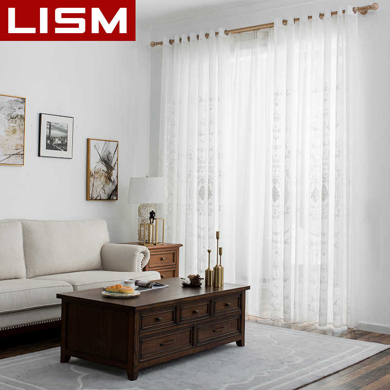 Embroidered White Sheer Curtains Window Tulle Curtains for Living Room Bedroom Kitchen Voile Curtains Fabric Drapes For Window