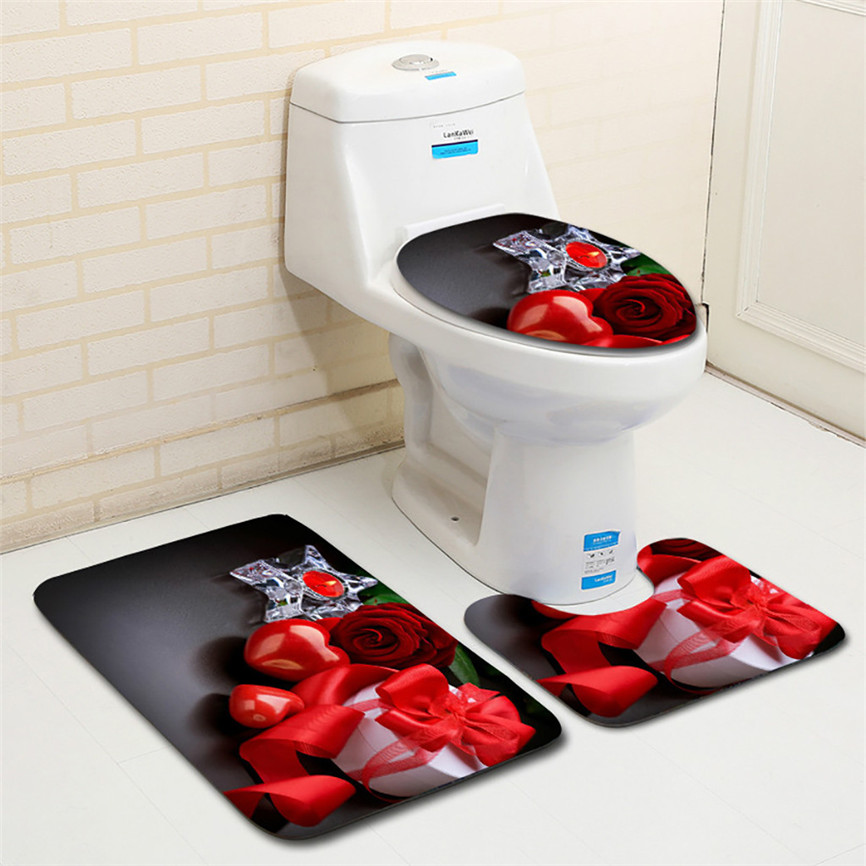 3pcs Sets Toilet Seat Cover WC Set Non-Slip Fish Scale Mat Bathroom Kitchen Carpet Doormats Washable Rug Valentine's Day Dec#2