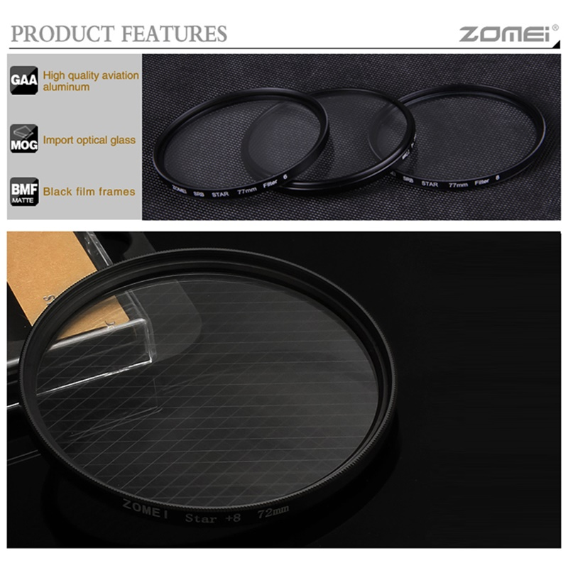 ZOMEI Star Filters Camera Lens Kit 4 Points 6 Points 8 Points Star Filter for Canon Nikon Sony Olympus DSLR Camera Accessories -3