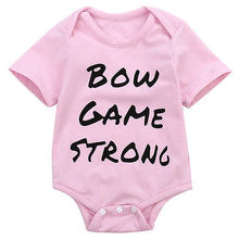 Summer Newborn Baby Kids Girls Summer Clothes Letter Short Sleeve Bodysuit Pink Jumpsuit Cotton0-18M