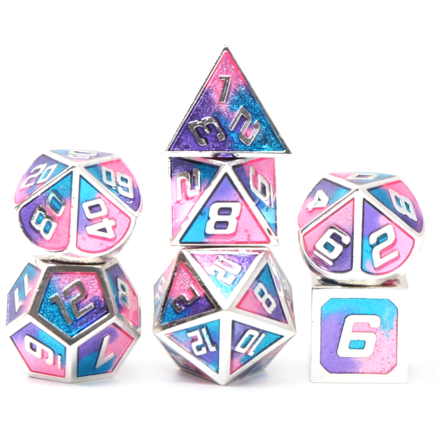 Chengshuo Dnd Dice Metal Rpg Set Polyhedral Dungeons And Dragons D20 10 8 12 Table Game Zinc Alloy Silvery Digital Dices Pattern