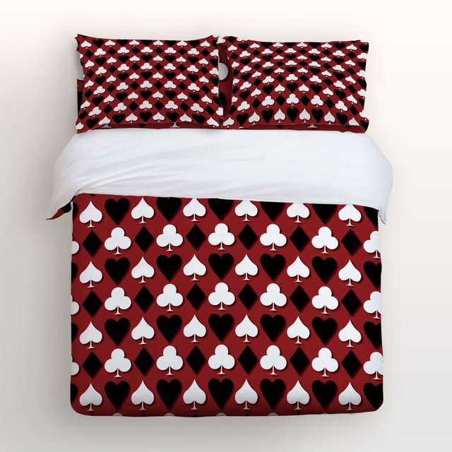 4 Piece Bed Sheets Set Black Red White Cards 1 Flat Sheet Duvet Cover And 2 Pillow Cases