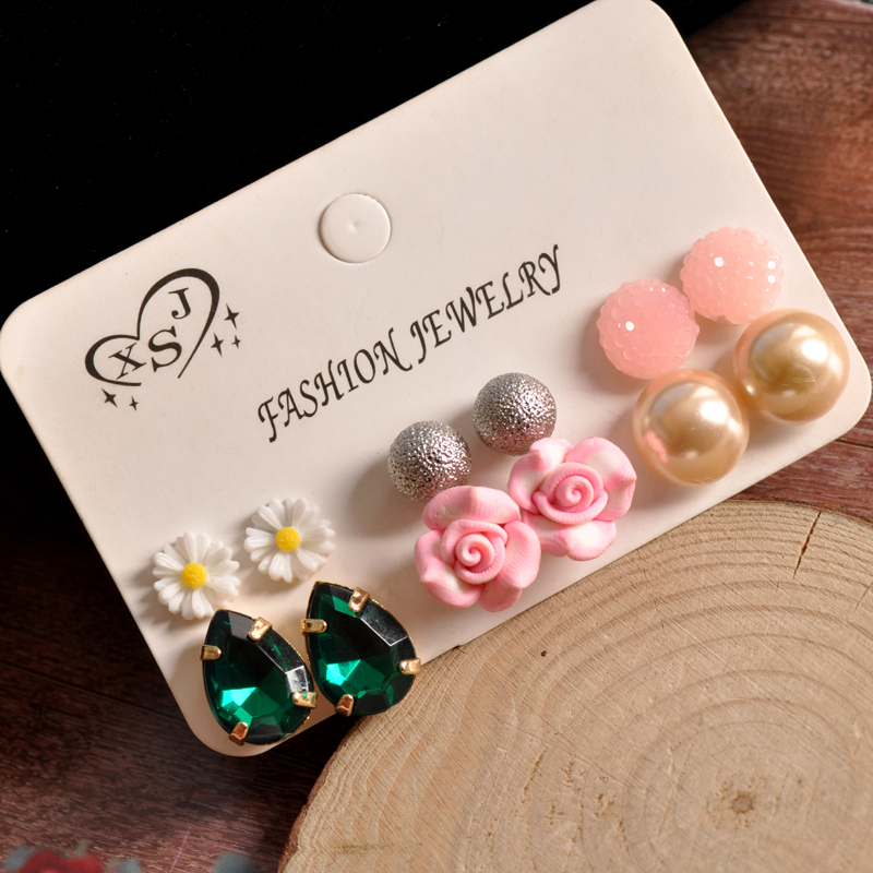 Earrings Hot Sale 50-70% OFF New Fashion Gorgeous Womens Jewelry Girl Birthday Party Pearl Earring Powder Green Flower Mix 6 Pairs /set Pair Earrings