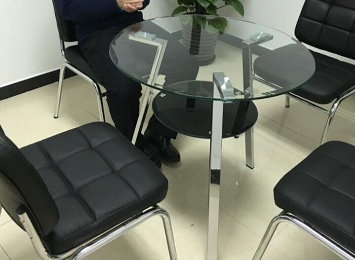 Stainless Steel Foot Double Steel Glass Round Table. Negotiate Table. Table  For Tea Table