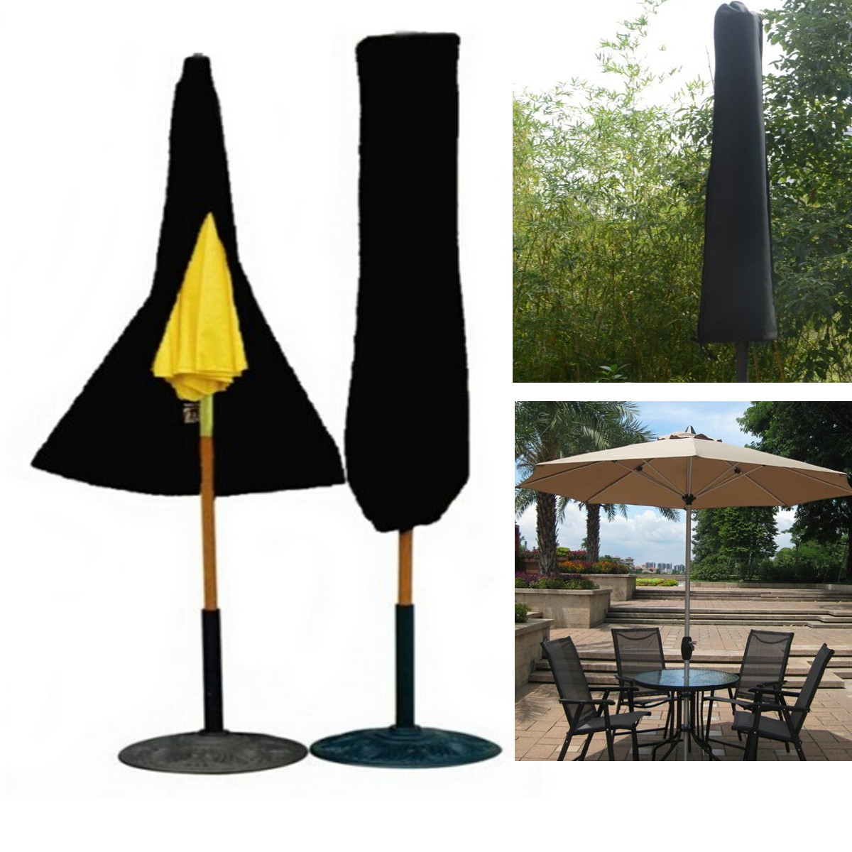 Patio Umbrella Covers With Zipper: Outdoor Yard Garden Umbrella Parasol Protective Cover