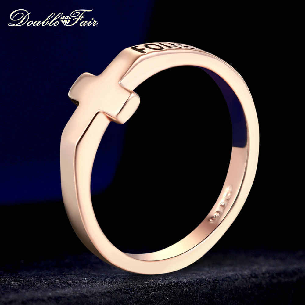 Double Fair Cross Design Ring Rose Gold/Silver Color Fashion Wedding Jewelry Letter Forever Ring For Men&Women HotSale DFR180M