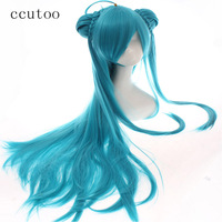 ccutoo 80cm Green Long Straight Hairstyles Synthetic Wig With Chingon Cosplay Wig For Female Halloween Party Costume Wigs