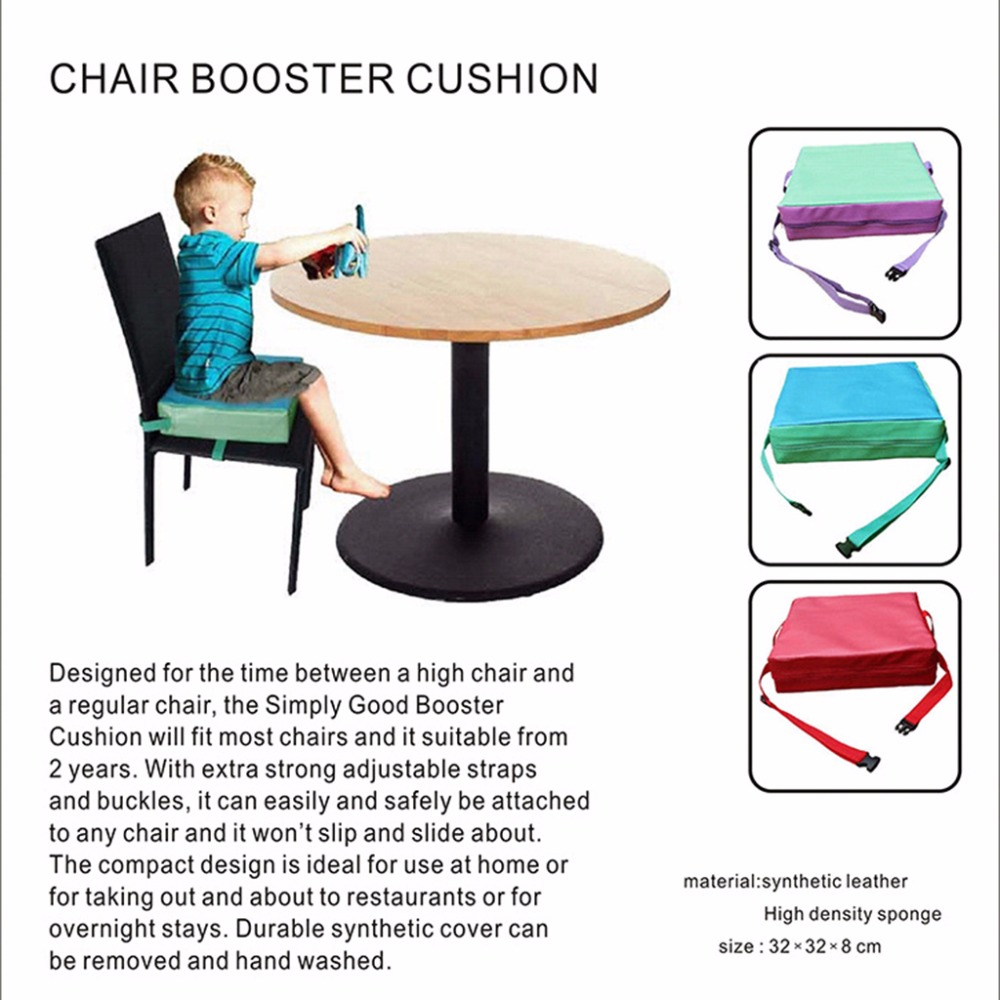 Chrilren Increased Chair Pad Dining Baby Kids Seat Faux Leather Cushion Cove