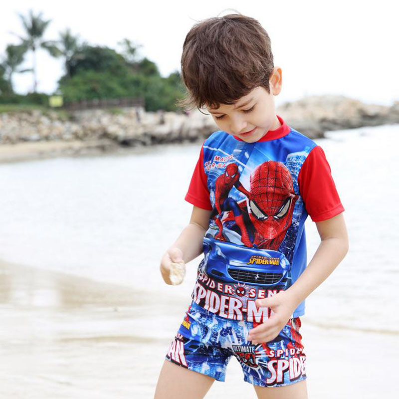 Spiderman Swimsuit Boys Two Pieces Swimwear Short Sleeve Neck Bathing Suit Kids