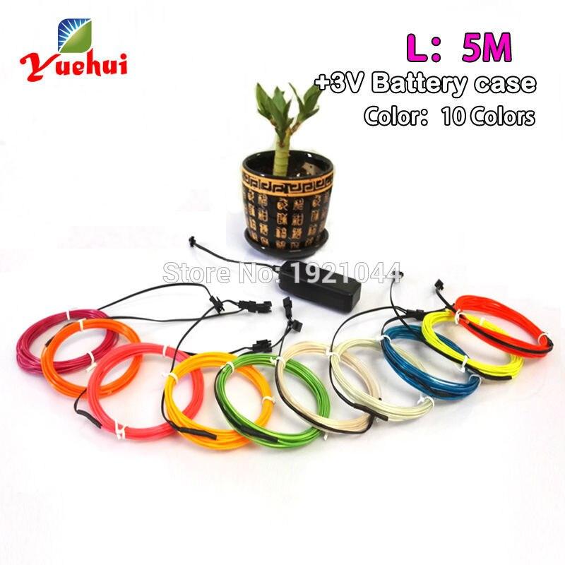 1.3 мм 5 метров 3 В мигает/Устойчивый на драйвер EL Провода Гибкая Glow трос лента кабель светодиодные полосы неоновые огни имеют 10 цветов Выберит...