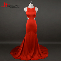 African 2017 New Evening Prom Dresses Red Stretch Material Sexy Mermaid Backless Cheap Turkish Real Photo