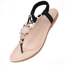 Лидер продаж Новинка 2017 года Femme Модные женские сандалии бисером женские Вьетнамки в богемном стиле женская обувь удобные летние сандалии для пляжа, на плоской подошве