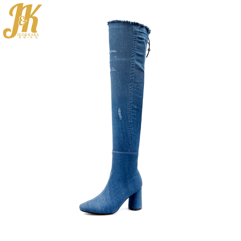 JK Big Size 32-43 High Heels Women Boots Spring Fashion Holed Ladies Shoes Denim Zipper Sewing Round Toe Over The Knee Footwear women high heels big