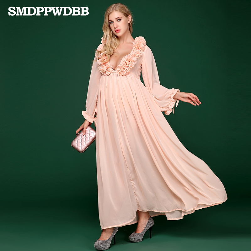 SMDPPWDBB Maternity Dresses Photography Long Pregnancy Dress Pregnancy Evening Dress Floral V-Neck Plus Size Dresses