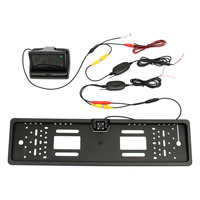 Car Rear View Kit European License Plate Reversing Camera+4.3 Inch TFT Monitor+Wireless Adapt Car Truck 120 Degree