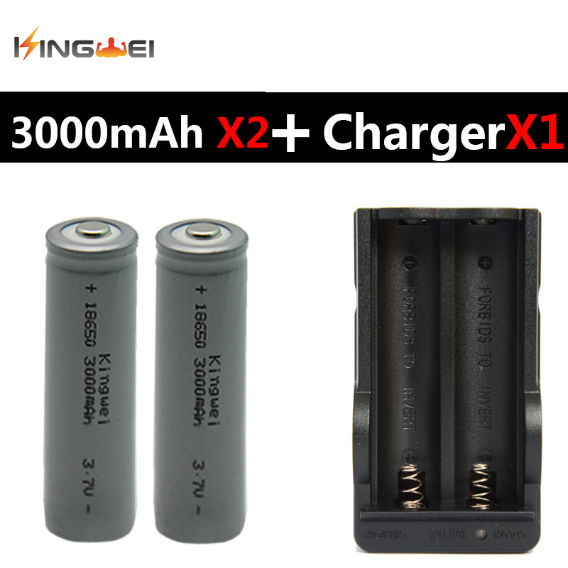 really capacity 3000mah batteries 2pcs kingwei 18650 battery with double 18650 eu us. Black Bedroom Furniture Sets. Home Design Ideas
