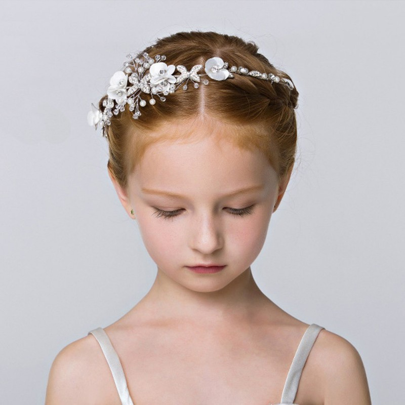 Diamante Crystal Pearl Headband Bridal Bridesmaid Flower Girls Wedding Prom Gift