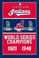 Cleveland Indians World Series Champions Cờ 3ft x 5ft Polyester MLB Banner Bay Kích No.4 4 144*96 cm QingQing C