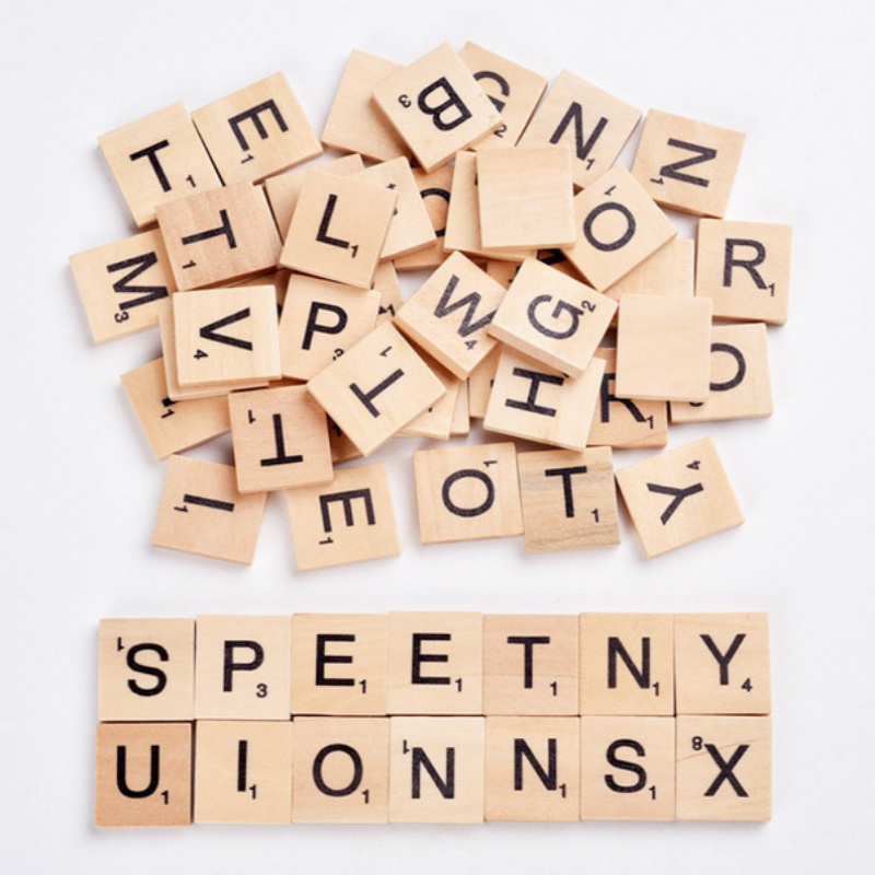 100pcsset English Words Wooden Letters Alphabet Tiles Black