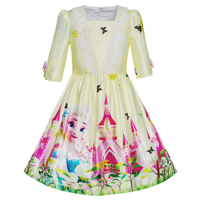 19619f963bc Sunny Fashion Robe Fille Princesse Elsa Château Papillon 3 4 Manche Robe