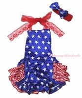 4th July Dress Halter Backless Sunsuit Star Stripe Ruffle Lace Romper Set NB-24m