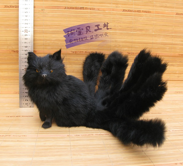 black simulation sitting fox model toy resin&fur creative nine-tails fox model toy gift about 16x10x13cm 1126