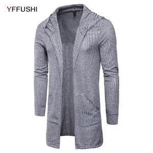 32961dac YFFUSHI Long Sleeve Knitted Cardigans Sweaters Men Clothes