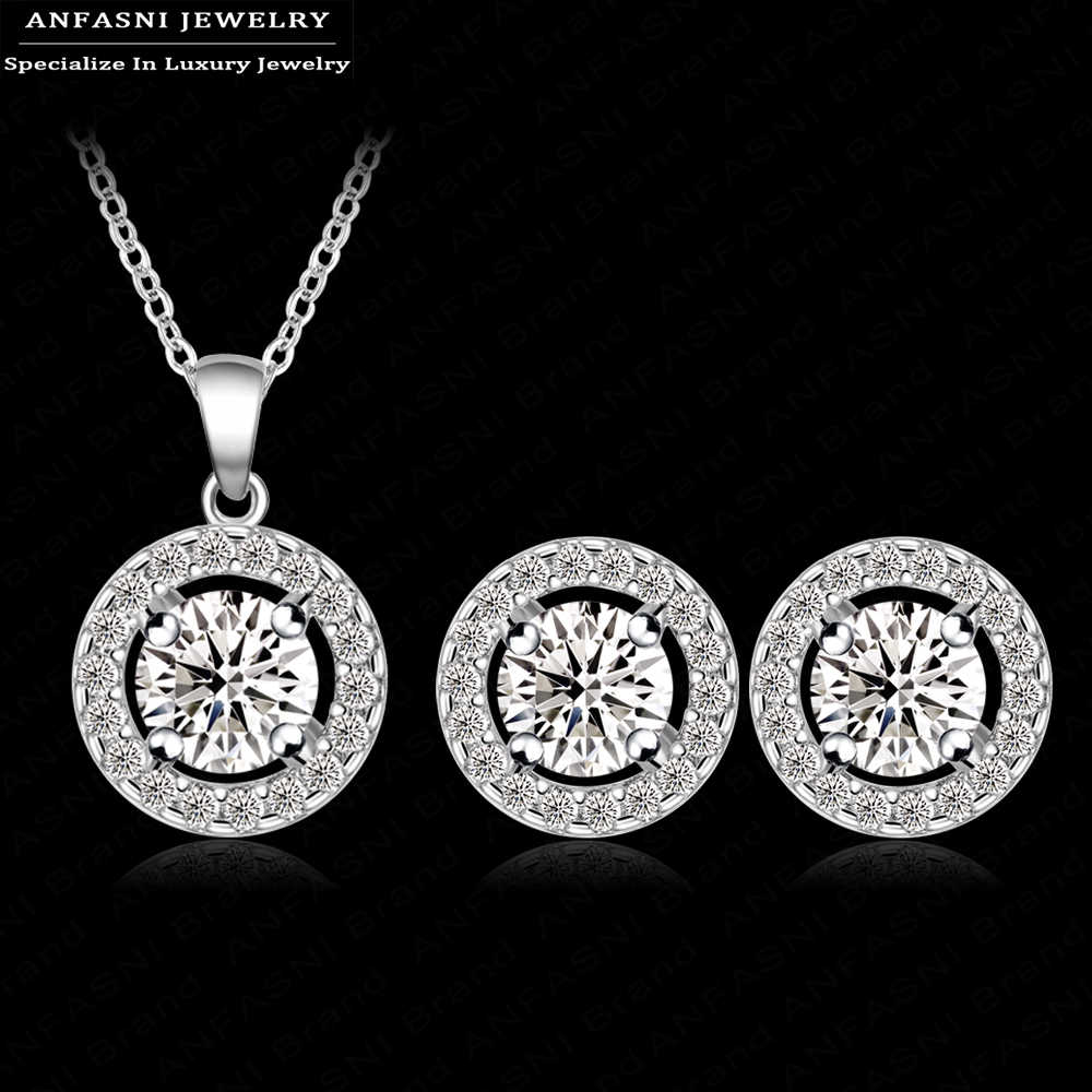 ANFASNI New Arrival Classic Wedding Jewelry Set Silver Color With AAA Zirconia Round Circle Earring/Necklace Hot Sale CST0003-B
