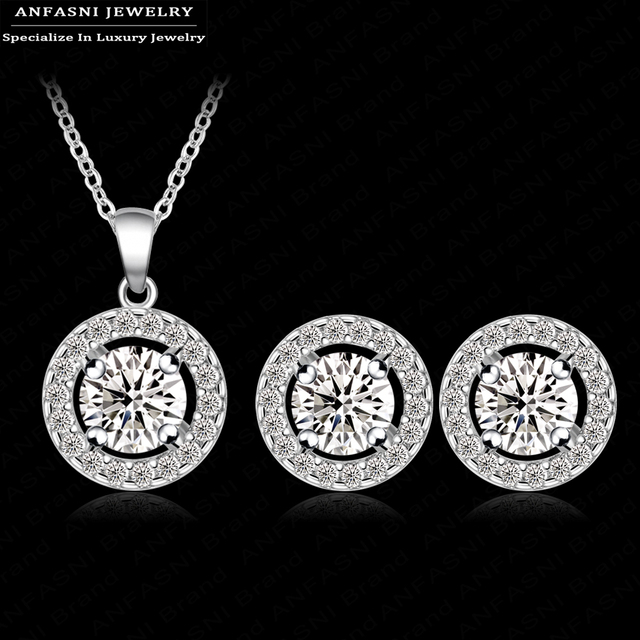 ANFASNI New Arrival Classic Wedding Jewelry Set Silver Color With AAA Zirconia R
