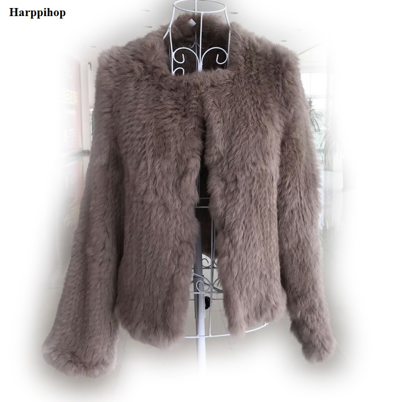 2017 New Knitted Rabbit Fur Coat Slim Rabbit Fur Jack Real Hand Knitted Genuine Rabbit Fur Coat Jacket/ Sheared Fur майка print bar jack rabbit