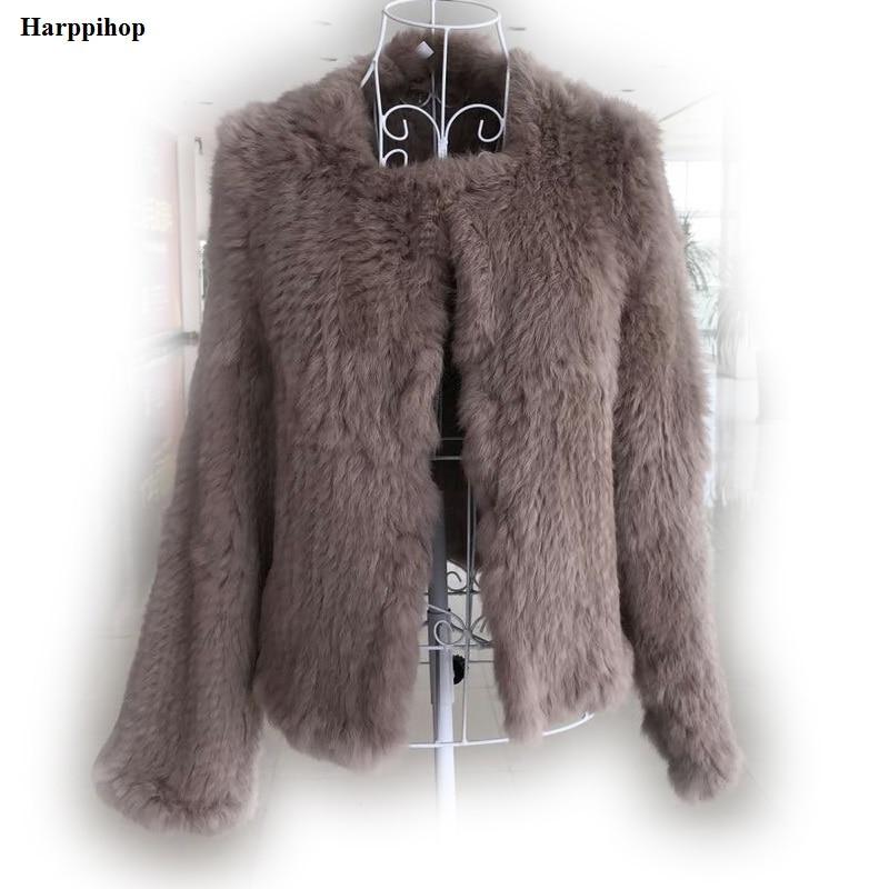 2017 New Knitted Rabbit Fur Coat Slim Rabbit Fur Jack Real Hand Knitted Genuine Rabbit Fur Coat Jacket/ Sheared Fur