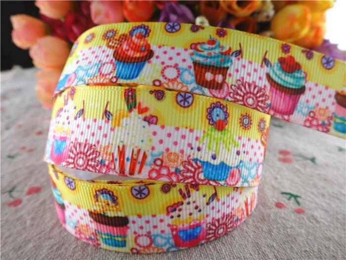 16063015, new arrival 78'' 22mm 10 yards cake printed grosgrain ribbons cartoon ribbon handmade hair bows