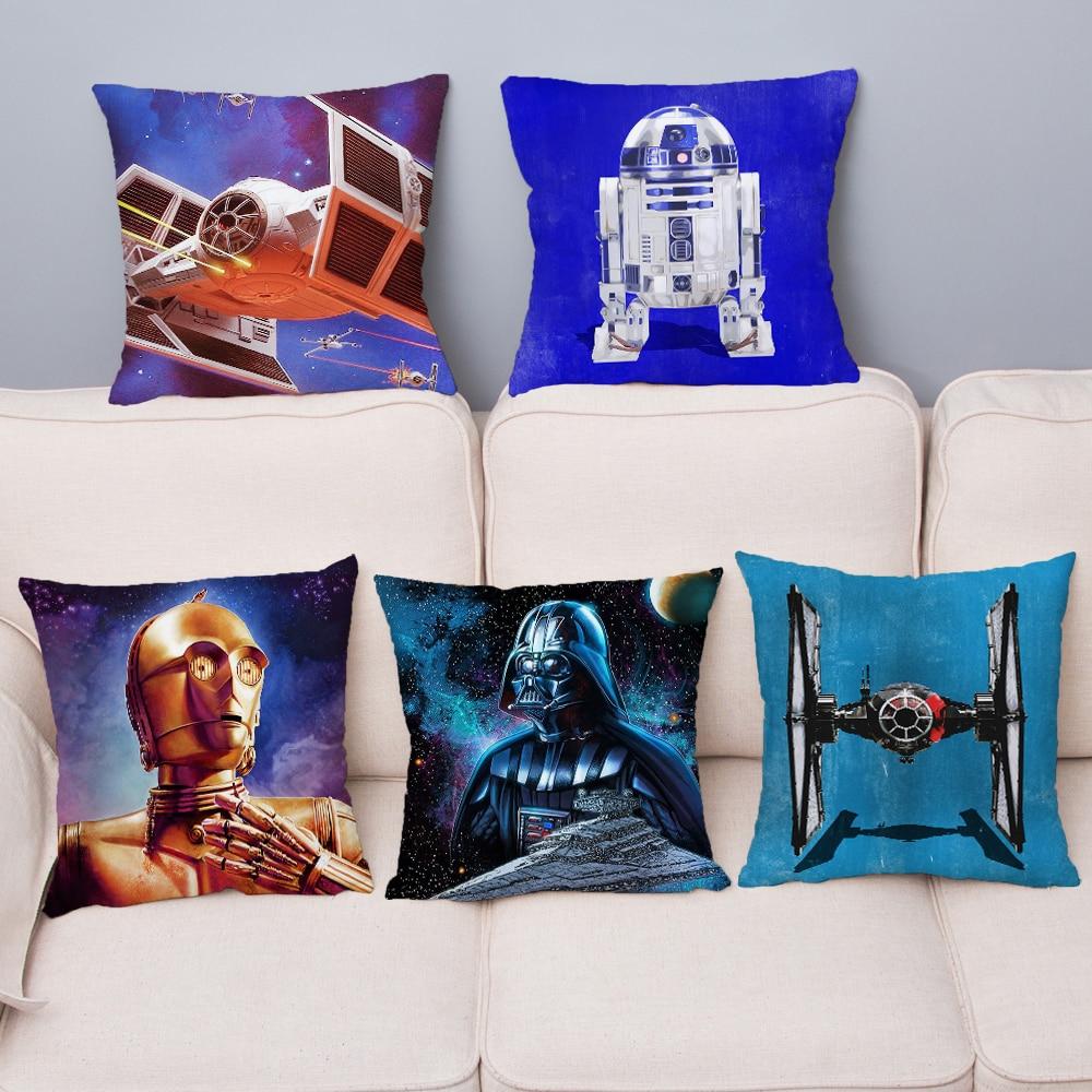 Super Soft Short Plush Pillow Cover Star Wars Print Cushion Covers 45*45 Square Throw Pillow Case Car Sofa Home Decor Pillowcase